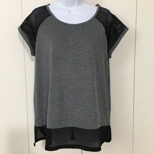 Champion grey & black mesh accent short sleeve top
